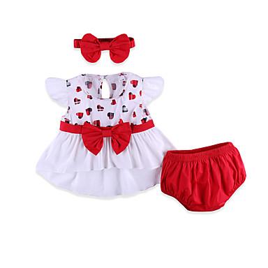 Bebé Chica Chic de Calle Diario Geométrico Lazo Manga Corta Regular Algodón / Licra Conjunto de Ropa Rojo