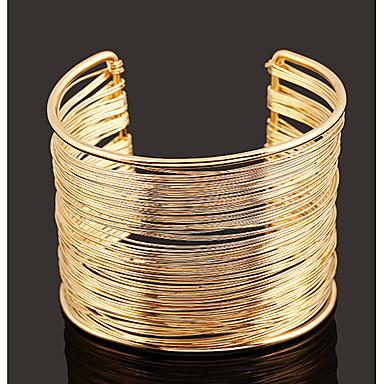abordables Bracelet-Manchettes Bracelets Femme Le style rétro simple Européen Hyperbole Bracelet Bijoux Dorée Argent pour Quotidien Plein Air