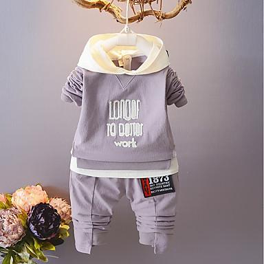 Bebelus Băieți Casual Sport Geometric Manșon Lung Scurt Bumbac Set Îmbrăcăminte / Copil