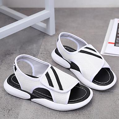 Femme Talon Plat Blanc Sandales Marche Eté Noir Maille Chaussures ouvert Confort Polyuréthane 06754052 Rouge Bout rq0rP8