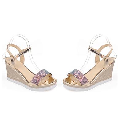Žene Cipele PU Ljeto Udobne cipele Sandale Wedge Heel Zlato / Obala / Crvena