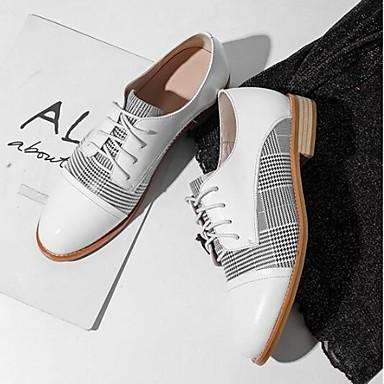 Bout Printemps Femme Confort Eté Noir Ballerines Nappa Chaussures rond 06794970 Block Heel Blanc Cuir TxTnqFz