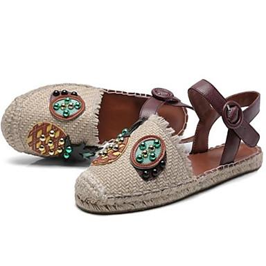 Žene Cipele Sintetika Proljeće ljeto Gladijatorke Ravne cipele Ravna potpetica Okrugli Toe Perlica Crvena / Badem