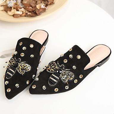Talon Bout amp; Bas Mules Chaussures Noir Confort Daim 06779426 Eté Rivet pointu Amande Sabot Femme nCx0qzwqX