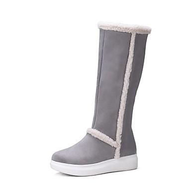 hiver Daim Confort Gris Bottes Automne Creepers Chaussures Noir 06829547 Femme npRwgq