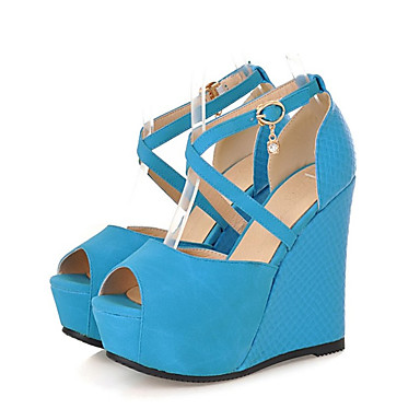 Žene Cipele PU Jesen zima D'Orsay cipele Sandale Wedge Heel Peep Toe Kopča Bež / Plava / Badem