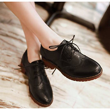 Marron Polyuréthane Confort Printemps Bottier Automne Noir Talon Oxfords Chaussures Beige 06795373 Femme wvqfSS