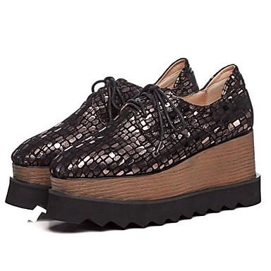 Printemps mouton Peau Bout Bourgogne Creepers Eté Noir Chaussures 06832671 fermé Daim Femme Confort de Oxfords EIwRTXq