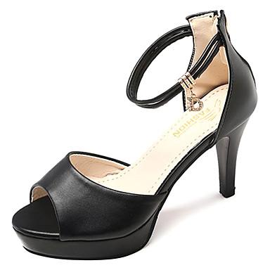 Žene PU Ljeto Obične salonke Sandale Stiletto potpetica Okrugli Toe Obala / Crn