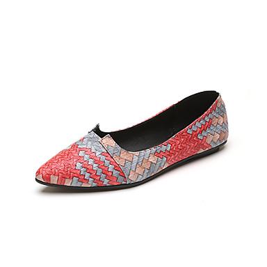 verano Beige Mujer Dedo Tacón Plano PU Confort Paseo 06834367 Bailarinas Zapatos Puntiagudo Primavera Azul ttRFw