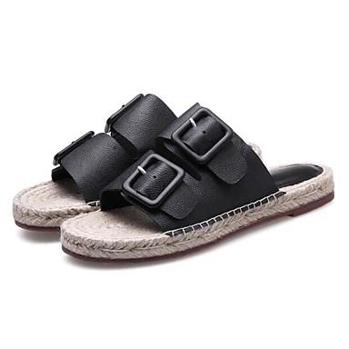 Cuir Confort Noir Talon Blanc 06795023 Chaussons Chaussures Eté Plat Nappa Femme Tongs amp; OIwqS5xp