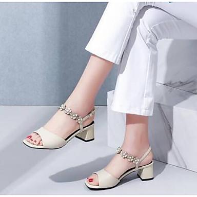 Žene Cipele Mekana koža Ljeto Udobne cipele Sandale Kockasta potpetica Crn / Bež