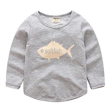 baratos Camisas para Meninos-Infantil Para Meninos Básico Diário Estampado Estampado Manga Longa Padrão Algodão Camiseta Azul