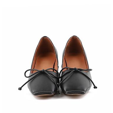 Blanc Chaussures Cuir à Bout Noir Bottier Eté carré Talons Chaussures Femme 06775549 Noeud Nappa Talon Confort TpnqdCpwO