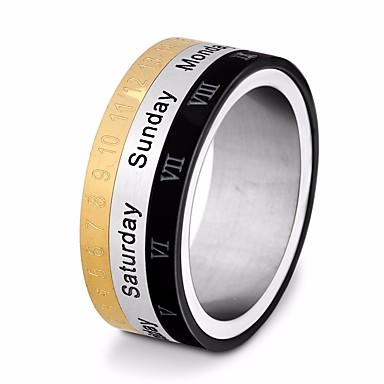voordelige Heren Ring-Heren Stijlvol Multi-vinger ring Titanium Staal Nummer Letter Stijlvol Uniek ontwerp Europees Modieuze ringen Sieraden Goud / Zwart Voor Straat Uitgaan 7 / 8 / 9 / 10 / 11