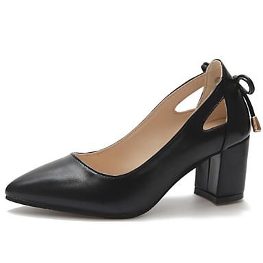 cf54771675 Women's Patent Leather Summer Basic Pump Heels Chunky Heel Pointed Toe Bowknot  Black / Beige /