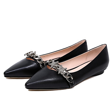 72a607d01cd21 نسائي Leather نابا الصيف بلارينا اخفاف كعب مسطخ حذاء براس مدبب حجر كريم أسود    أخضر
