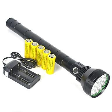 baratos Luzes & Lanternas de Acampamento-Lanternas LED Lanternas de Mão 22000 lm LED 12 Emissores 1 Modo Iluminação Com Pilhas Profissional Campismo / Escursão / Espeleologismo Uso Diário Polícia / Militar