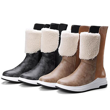 mollet Polyuréthane rond 06837438 Bas Chaussures Femme Marron Bottes la à hiver Bottes Mi Automne Bottes Talon Noir Mode Bout HZUUw57qx