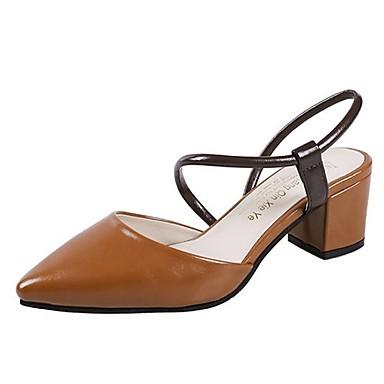 Beige Zapatos Descubierto Tacón Cuadrado Oscuro Verano 06833316 Sandalias PU Dedo Mujer Talón Morrón Puntiagudo 4xZvf11