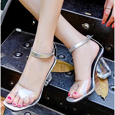 Femme translucide Eté Cuir Sandales Confort 06832698 Blanc Chaussures Talon Nappa Noir rqawr0