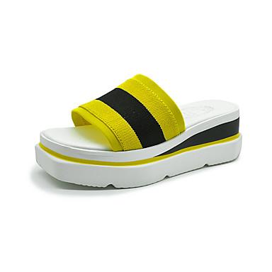 Tacón Negro Azul A PU Sandalias Mujer Talón Descubierto Verano 06827446 Zapatos Rayas Amarillo Cuña Y6xRw