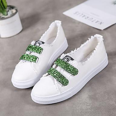 Negro Confort Rosa de Plano Verano Tacón Zapatillas 06830730 redondo Verde Tela deporte Zapatos Mujer Dedo CPawq1q