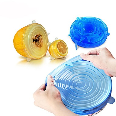cheap Kitchen & Dining-6PCS Universal Silicone Food Wrap Lid-bowl Silicone Cover Pan Kitchen Vacuum Lid Sealer