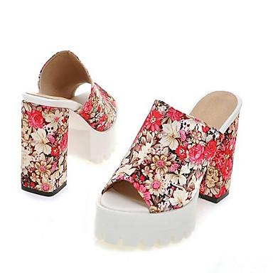 Sandalias Rojo Cuero Cuadrado Mujer Verano Napa Zapatos Azul Tacón 06801188 de Satén Confort wq0AZgF