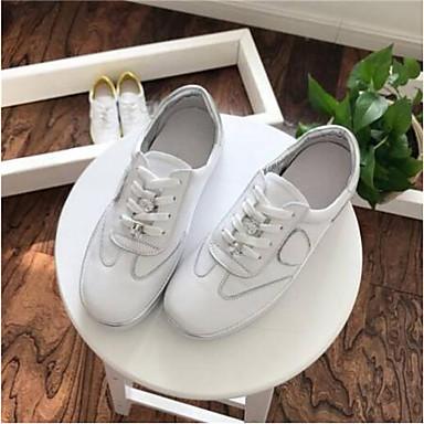 Žene Cipele Mekana koža Proljeće / Ljeto Udobne cipele Sneakers Ravna potpetica Okrugli Toe Obala / Bijela