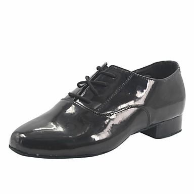 baratos Shall We® Sapatos de Dança-Para Meninos Couro Envernizado Sapatos de Dança Moderna / Dança de Salão Salto Salto Grosso Preto / Espetáculo / Ensaio / Prática