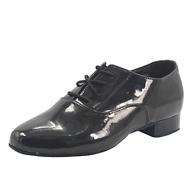 Men's Modern Shoes Dance Patent Leather Heel Thick Heel Dance Shoes Shoes Black c52545