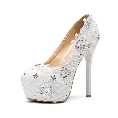 0e82616557ef Women s Shoes PU(Polyurethane) Fall   Winter Basic Pump Wedding Shoes  Stiletto Heel Round Toe Pearl   Satin Flower   Sparkling Glitter White    Party   ...