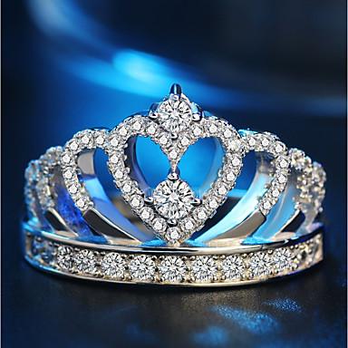 baratos Anéis-Mulheres Anel / Anel da Eternidade / Anel da Princesa Coroa 1pç Prata Latão / Pedaço de Platina / Imitações de Diamante senhoras / Clássico / Coreano Festa / Presente Jóias de fantasia / Coração