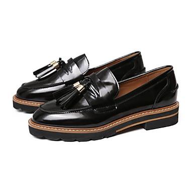 D6148 Vin Chaussures et Marron Bottier Talon Mocassins Chaussons Printemps Femme rond Bout Cuir Confort été Noir 06785190 Gland Verni BqTTdwz