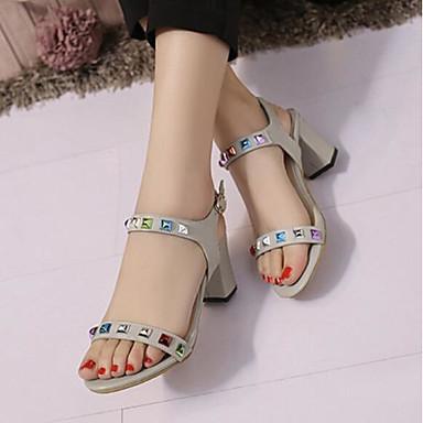 Sandalias Mujer Tacón Rosa Microfibra Negro Zapatos 06785772 Gris Verano abierta Cuadrado Hebilla Confort Puntera rBwFIqUBX