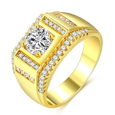 voordelige Heren Ring-Heren Klassiek Stijlvol patiencespel Ring Verlovingsring 18 Karaats Verguld Gesimuleerde diamant Kostbaar Klassiek Modieus Hip-hop Dubai Modieuze ringen Sieraden Goud Voor Bruiloft Verloving