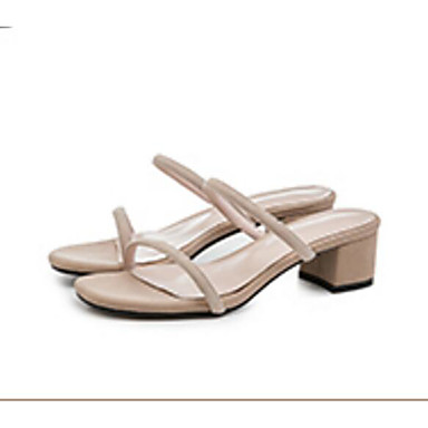 Žene Ovčja koža Ljeto Udobne cipele Sandale Kockasta potpetica Crn / Pink / Badem