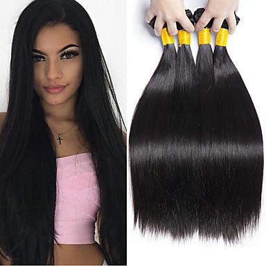 voordelige Weaves van echt haar-4 bundels Braziliaans haar Recht 8A Echt haar Menselijk haar weeft Bundle Hair Een Pack Solution 8-28 inch(es) Naturel Natuurlijke Kleur Menselijk haar weeft Klassiek Beste kwaliteit Hot Sale