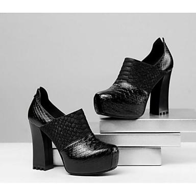 Žene Cipele Mekana koža Jesen Udobne cipele / Obične salonke Cipele na petu Kockasta potpetica Crn / Pink