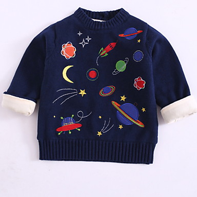 baratos Suéteres & Cardigans para Meninos-Infantil Bébé Para Meninos Básico Galáxia Manga Longa Algodão Suéter & Cardigan Azul Marinha