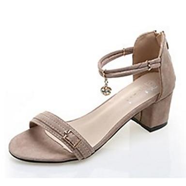 Žene Brušena koža Ljeto Udobne cipele Sandale Niska potpetica Otvoreno toe Crn / Badem