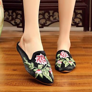 Satén Dedo Confort Rosa Mujer pantuflas Zuecos y Rojo Bajo de Satén redondo Borgoña y verano Tacón Fiesta Flor Zapatos 06779440 Primavera Noche wvI6nvAq