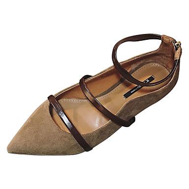 Negro Tacón Zapatos Mujer Verano el Marrón 06780632 Plano Dedo en Bailarinas Tobillo PU Tira Puntiagudo F8w871n