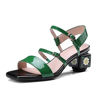 Žene Mekana koža Ljeto Udobne cipele Sandale Kockasta potpetica Otvoreno toe Crn / Zelen