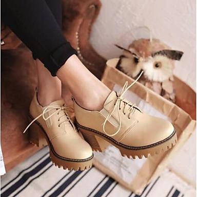 Verano Primavera Mujer Zapatos Confort Marrón Tacón Oxfords Dedo Gris redondo Beige 06793101 Cuadrado PU wttEr