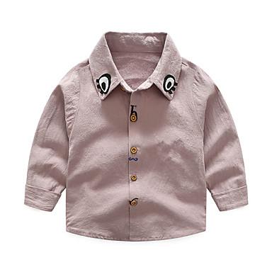 baratos Camisas para Meninos-Infantil Para Meninos Activo Básico Diário Escola Sólido Manga Longa Padrão Algodão Camisa Rosa