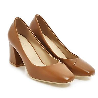 Marrón Mujer PU Zapatos 06837936 Tacones Confort Almendra Cuadrado Primavera Tacón 0HSPaw0q