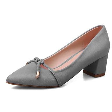 Žene Cipele PU Proljeće Udobne cipele Cipele na petu Kockasta potpetica Crn / Sive boje / Pink