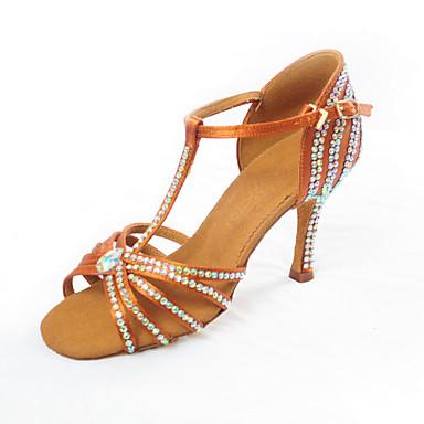 baratos Sapatos de Salsa-Mulheres Sapatos de Dança Cetim Sapatos de Dança Latina / Sapatos de Salsa Sandália Salto Carretel Personalizável Marron / Espetáculo